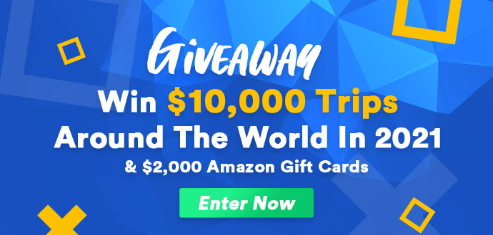 Win $10,000 Trips & $2,000 Amazon Gift Cards